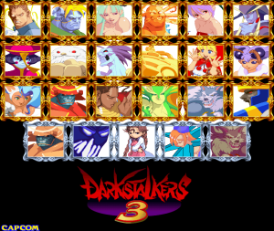 Fully unlocked Darkstalkers 3 character selection screen (home version)