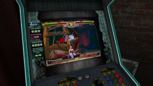 "Darkstalkers Resurrection in the ""over the shoulder"" cabinet view"