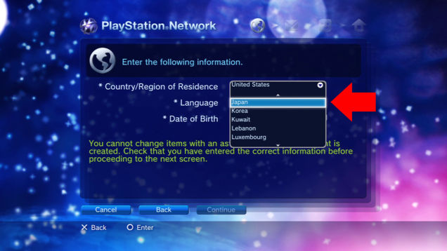 Here's the screen where you pick your region on the PS3.  If you go through the PC, just search for the store you wish and choose the signup option on that page.  Please remember to log out of your home PSN account if you have one saved to your web browser or it will just send you to your home account store instead of a signup page.