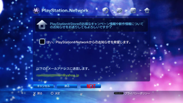 Next is just a review page and confirmation e-mail notice.  Verify the e-mail is correct than press next (far right at bottom).  The check box is if you want the PSN newsletter, which will be in Japanese but Google Translate helps that and you get notified of sales.